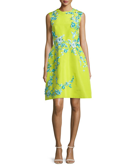 Monique Lhuillier Sleeveless Embellished Faille Cocktail Dress,