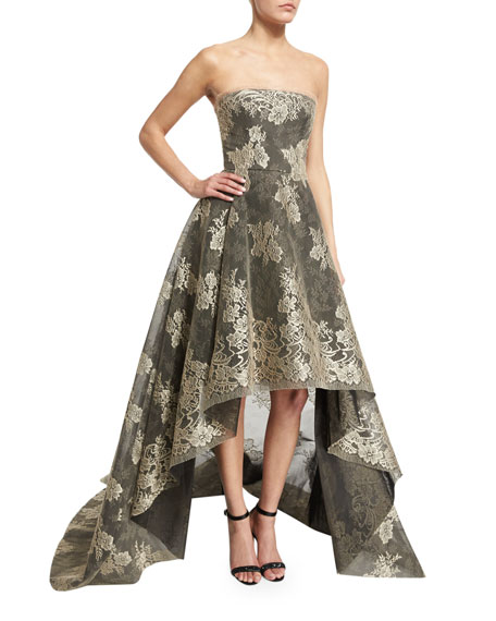Strapless Bonded Lace High-Low Gown, Black/Nude