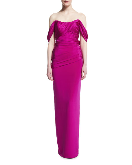 Off-Shoulder Satin Column Gown w/ Detachable Train
