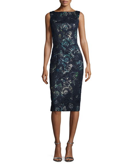 Theia Sleeveless Floral Lace Cocktail Sheath Dress