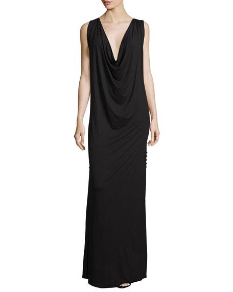 Haute Hippie The Claire Cowl-Neck Maxi Dress, Black
