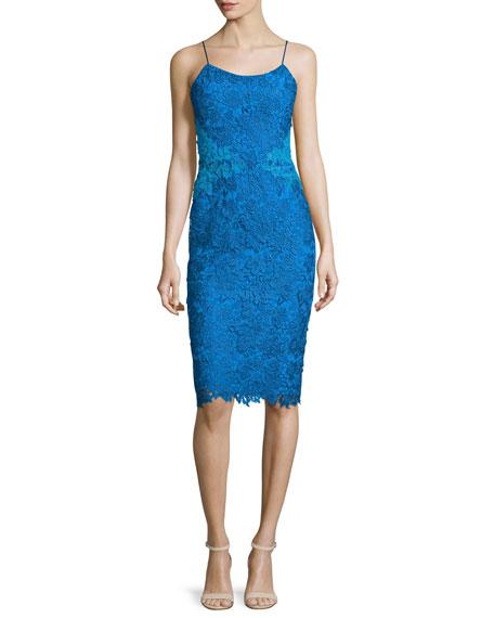 Sleeveless Lace Sheath Applique Cocktail Dress