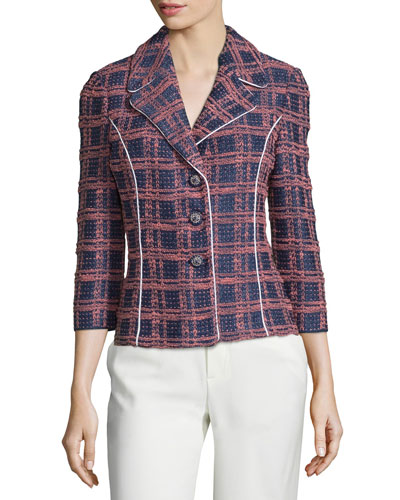 3/4-Sleeve Button-Front Plaid Jacket, Ink/Nectar/Multi