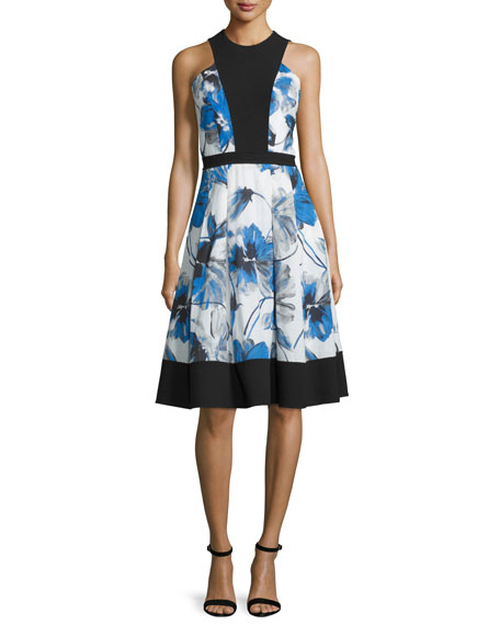 Floral-Print Illusion-Bodice Sleeveless Cocktail Dress