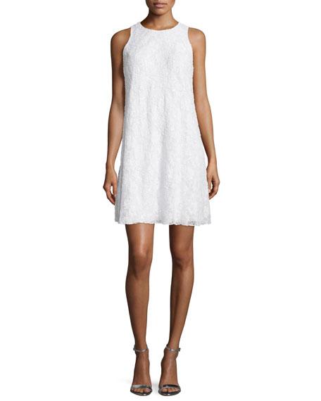 Carmen Marc Valvo Sleeveless Beaded Lace Swing Dress,