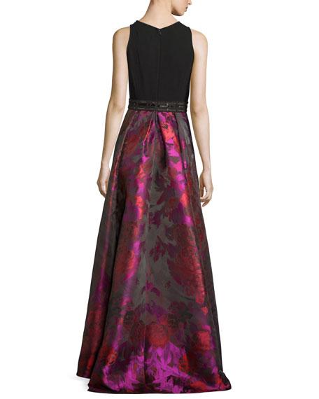 Sleeveless Crepe & Floral Taffeta Ball Gown, Fuchsia