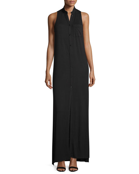 Haute HippieThe Cady Button-Front Voile Maxi Dress, Black