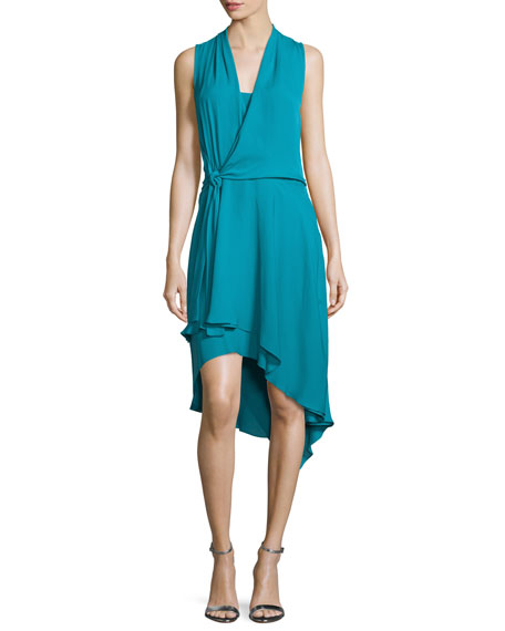 Kobi Halperin Sleeveless Faux-Wrap High-Low Dress, Teal Ocean