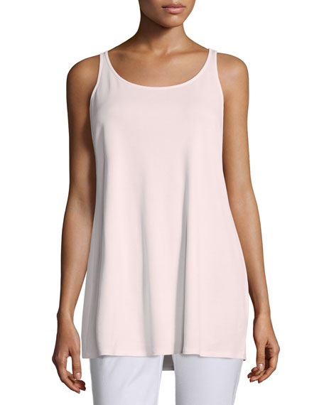 Eileen Fisher Sleeveless Long Silk Jersey Tank, Opal, Petite