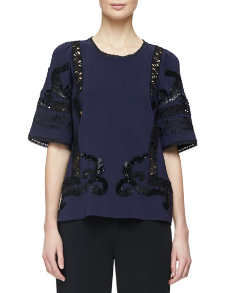 Kobi Halperin Short-Sleeve Embellished Blouse W/Lace Inset, Navy