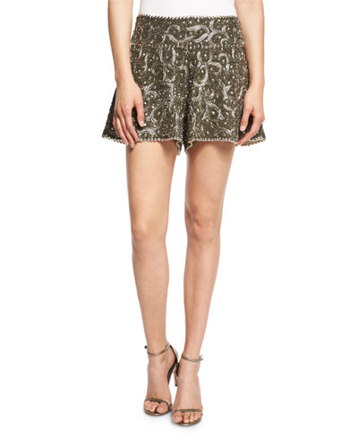 Marisa Beaded Flutter Shorts, Gunmetal