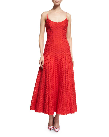 ML Monique Lhuillier Sleeveless Dotted Lace Midi Dress | Neiman Marcus