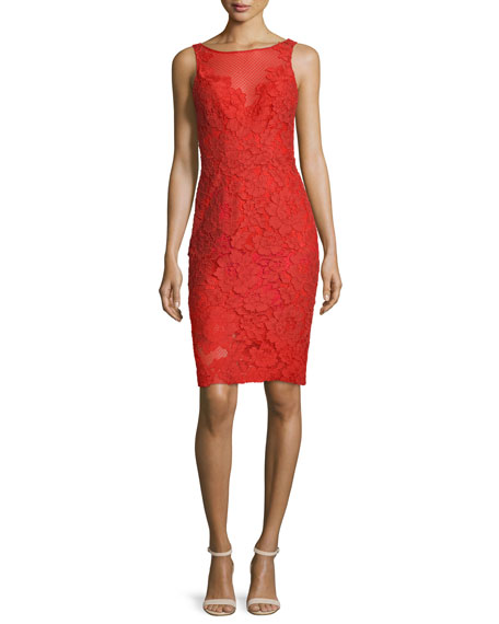 Sleeveless Floral Lace Sheath Cocktail Dress