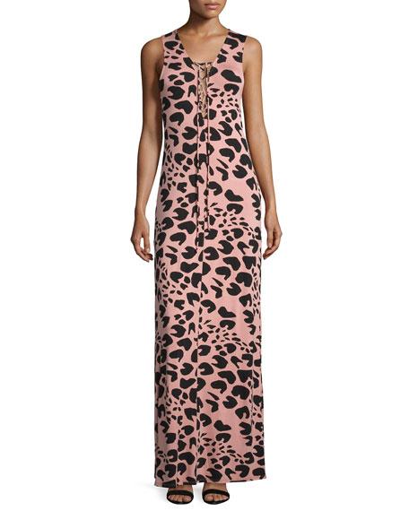 Rachel Pally Jolene Sleeveless Lace-Up Maxi Dress, Jaguar Print, Plus Size