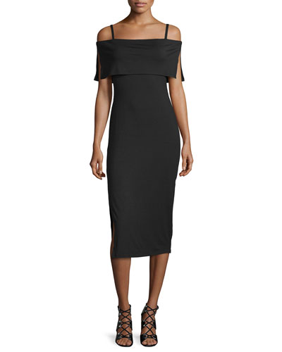 Pascal Off-The-Shoulder Sheath Dress, Black, Plus Size