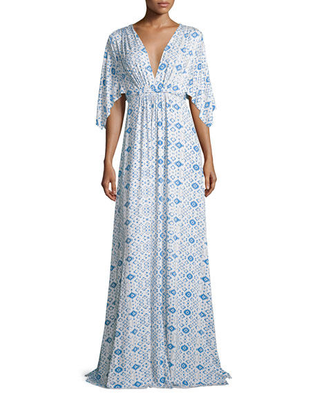 Rachel Pally Kimono-Sleeve Printed Caftan Maxi Dress, Delta