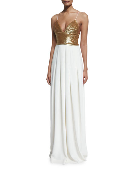 Rachel Zoe Sequined Sleeveless V-Neck Gown, Gold/Ecru