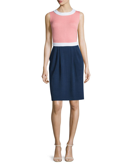 St. John Collection Sleeveless Jewel-Neck Colorblock Dress, Nectar/Bright White