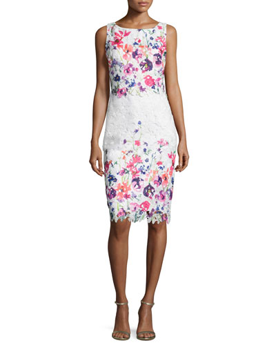 Floral Lace Popover Sheath Dress