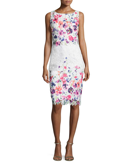 Badgley Mischka Floral Lace Popover Sheath Dress