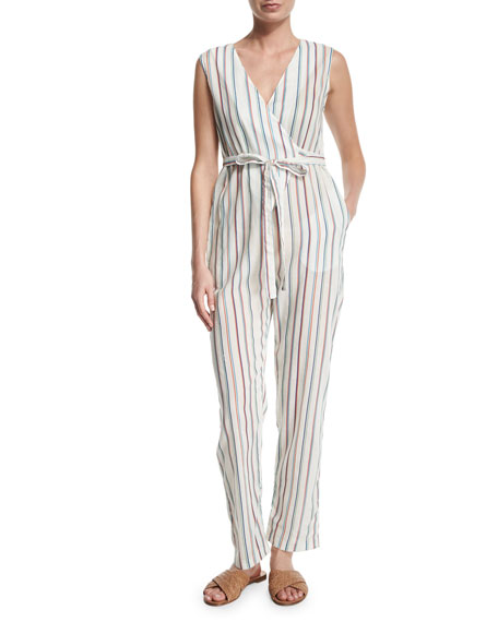 Miguelina Alexa Striped V-Neck Jumpsuit