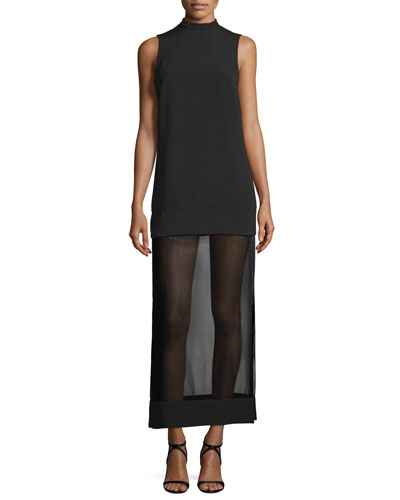 Northern Lights Sleeveless Maxi Dress, Black