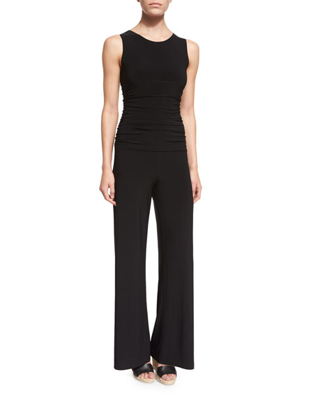Norma Kamali Sleeveless Shirred-Waist Jumpsuit