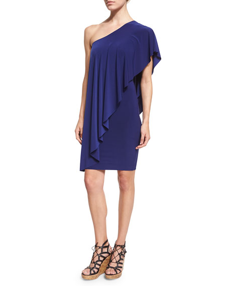 Norma KamaliCircle One-Shoulder Draped Dress, Blueberry