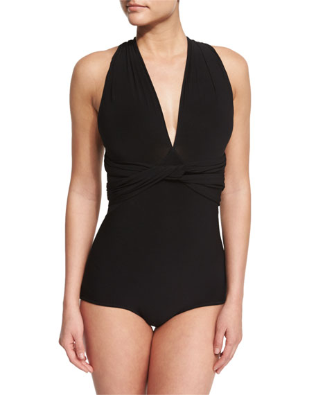 Norma Kamali Twist-Front Convertible One-Piece Swimsuit