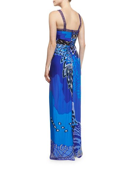 Printed Sleeveless V-Neck Gown, Blue/Multi