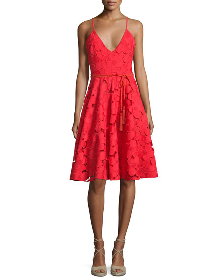 Badgley Mischka Floral Lace Fit & Flare Dress