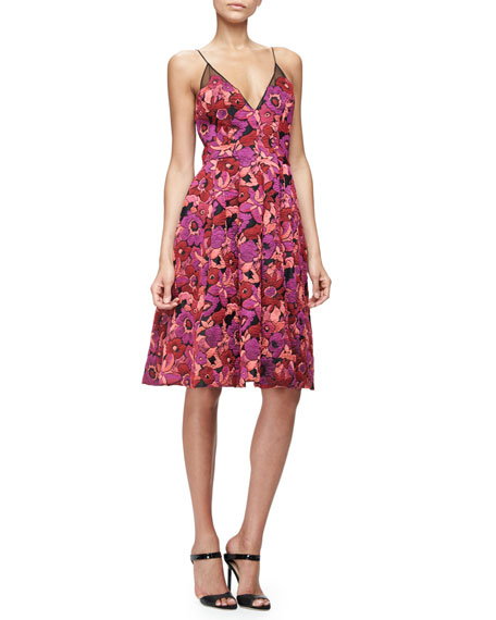 Floral Jacquard Fit-and-Flare Dress, Berry