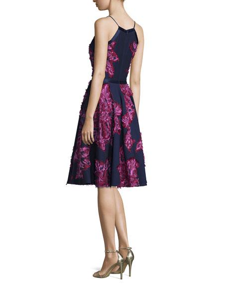 Sleeveless Chiffon Dress W/Embellished Flowers, Navy Multi