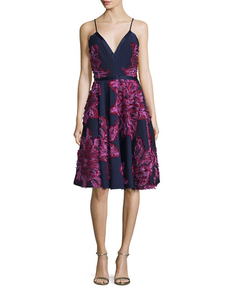 Badgley Mischka Sleeveless Chiffon Dress W/Embellished Flowers,