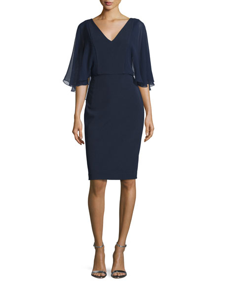 Badgley Mischka Flutter-Sleeve V-Neck Cocktail Dress, Navy