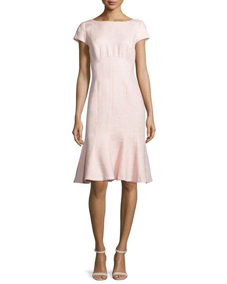 Edwina Short-Sleeve Linen Dress, Parfum