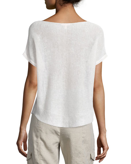Short-Sleeve Bateau-Neck Linen Box Top, Petite