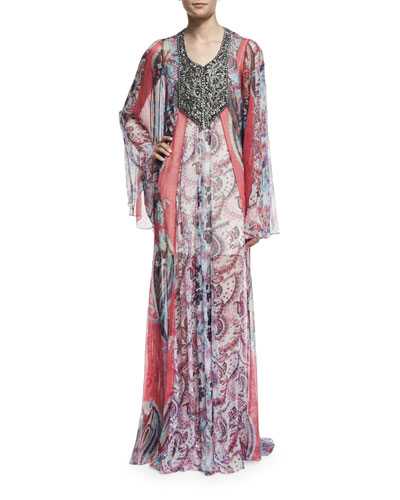 Marisa Sheer Silk Multipattern Gown, Multicolor