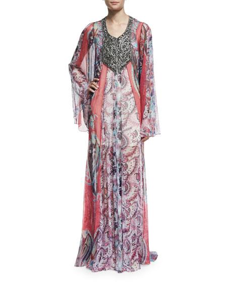 Haute Hippie Marisa Sheer Silk Multipattern Gown, Multicolor ...