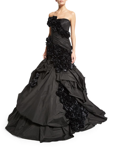 Strapless Mermaid Gown W/Rosette Appliquè, Black/Multi