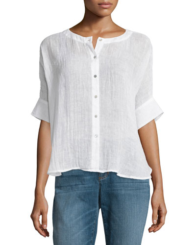 Button-Front Organic Linen Gauze Top, White