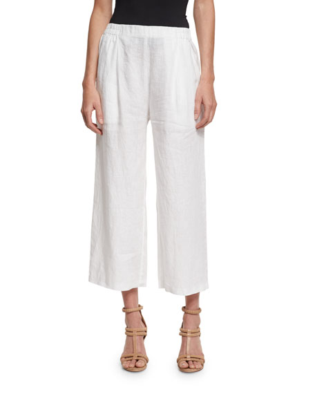 Eileen Fisher Organic Linen Wide-Leg Cropped Pants, White