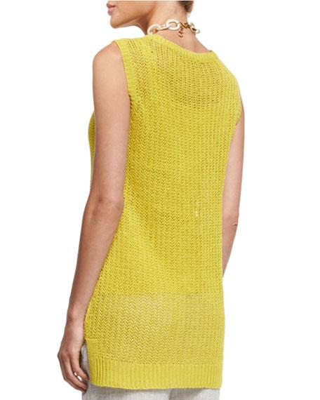 Sleeveless Linen Jewel-Neck Fisherman's Knit Tunic