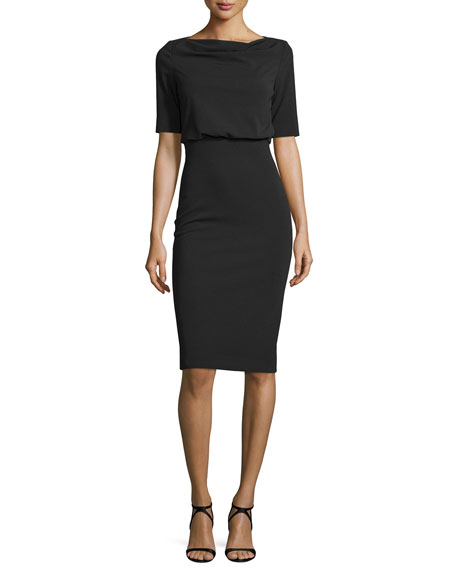 Badgley MischkaShort-Sleeve Blouson Cocktail Dress, Black