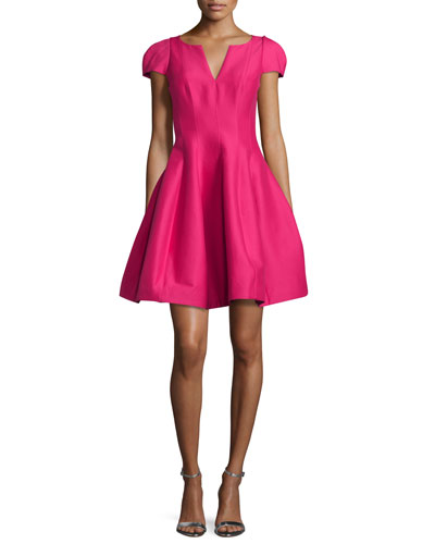 Tulip-Skirt Split-Neck Party Dress, Cerise