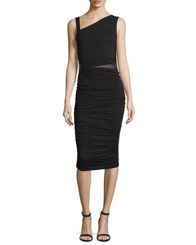 Mahave Sleeveless Ruched Midi Dress, Black