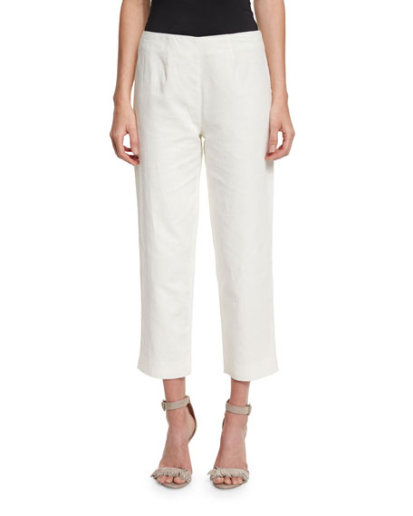Neiman Marcus Lined Linen-Blend Cropped Pants, White