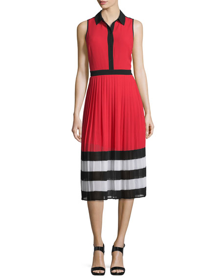MICHAEL Michael KorsBillerly Striped Pleated A-Line Midi Dress,