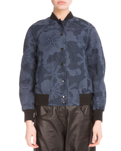 Tanami Flower Jacquard Bomber Jacket, Navy Blue