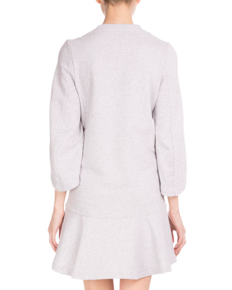3/4-Sleeve Logo Sweatshirt Dress, Light Gray